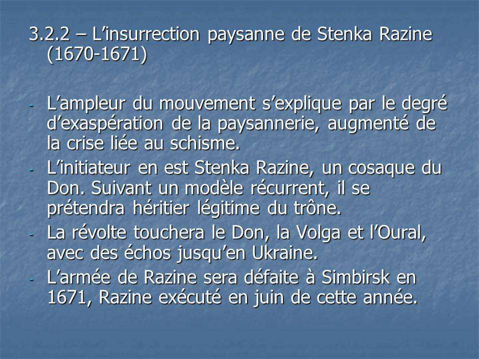 3.2.2 – L'insurrection paysanne de Stenka Razine (1670-1671)