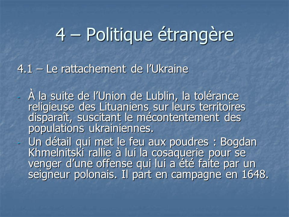 4 – Politique étrangère 4.1 – Le rattachement de l'Ukraine