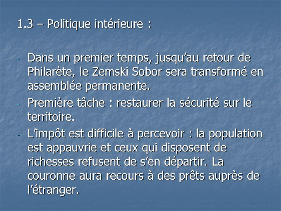 1.3 – Politique intérieure :