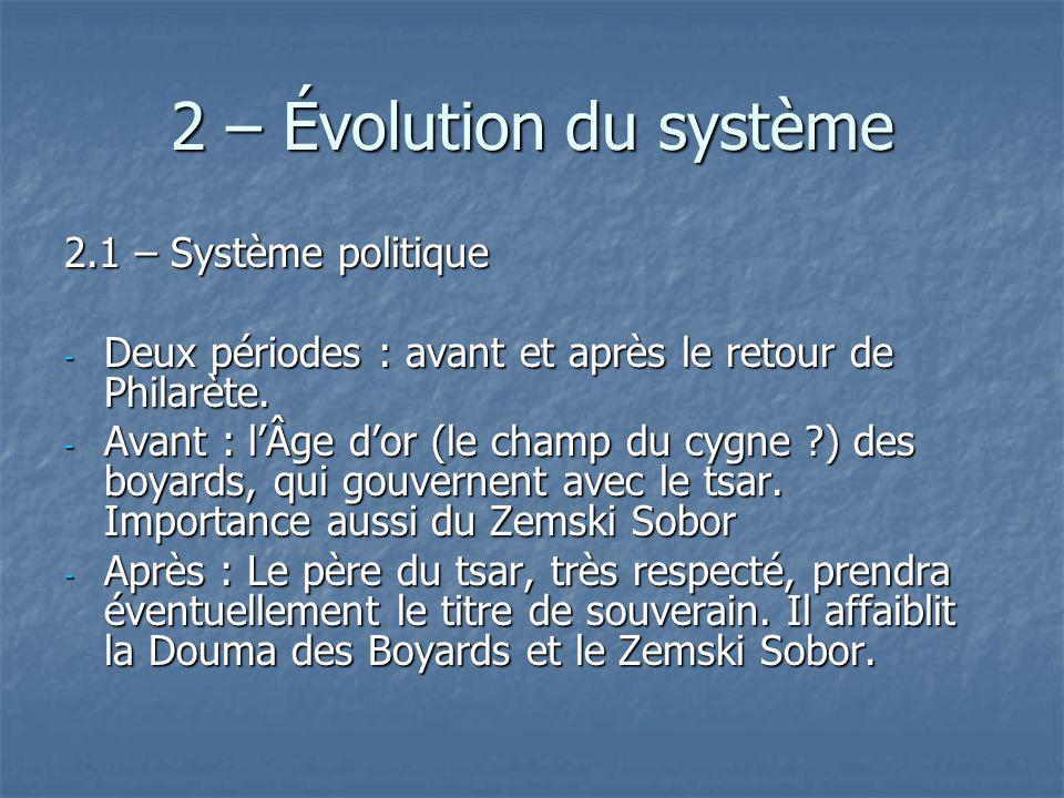 2 – Évolution du système 2.1 – Système politique