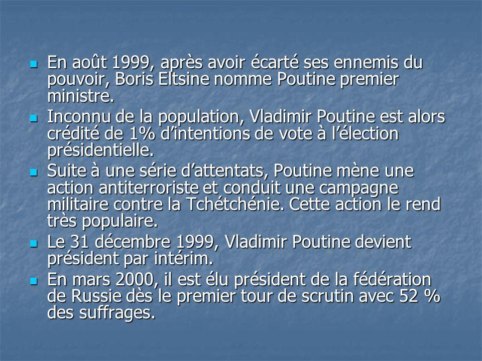 En août 1999, après avoir écarté ses ennemis du pouvoir, Boris Eltsine nomme Poutine premier ministre.