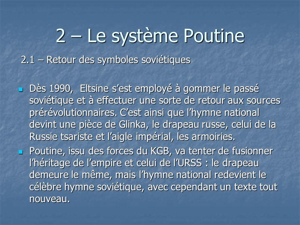 2 – Le système Poutine 2.1 – Retour des symboles soviétiques