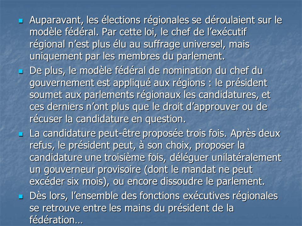 Auparavant, les élections régionales se déroulaient sur le modèle fédéral. Par cette loi, le chef de l'exécutif régional n'est plus élu au suffrage universel, mais uniquement par les membres du parlement.