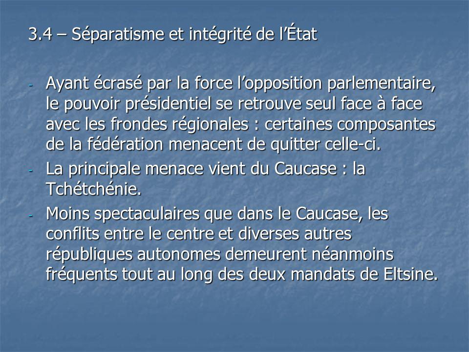 3.4 – Séparatisme et intégrité de l'État