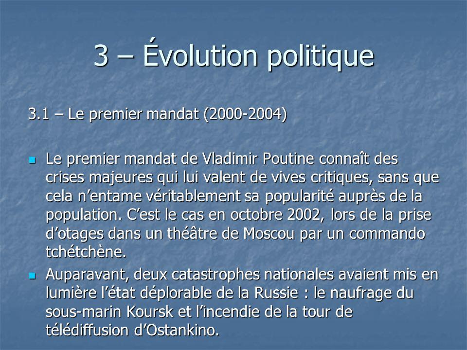 3 – Évolution politique 3.1 – Le premier mandat (2000-2004)