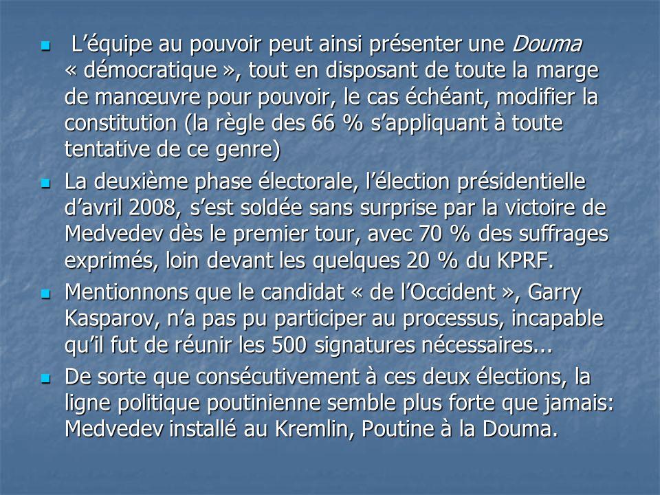 L'équipe au pouvoir peut ainsi présenter une Douma « démocratique », tout en disposant de toute la marge de manœuvre pour pouvoir, le cas échéant, modifier la constitution (la règle des 66 % s'appliquant à toute tentative de ce genre)