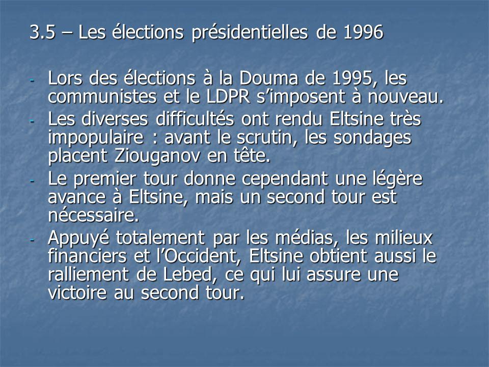 3.5 – Les élections présidentielles de 1996