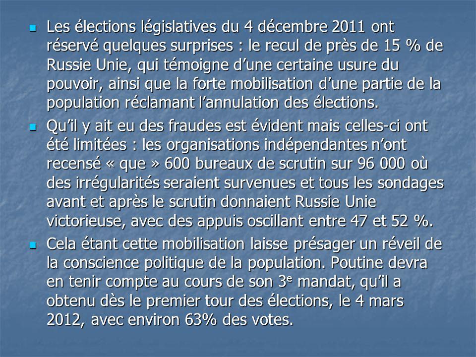 Les élections législatives du 4 décembre 2011 ont réservé quelques surprises : le recul de près de 15 % de Russie Unie, qui témoigne d'une certaine usure du pouvoir, ainsi que la forte mobilisation d'une partie de la population réclamant l'annulation des élections.