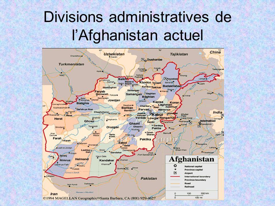 Divisions administratives de l'Afghanistan actuel