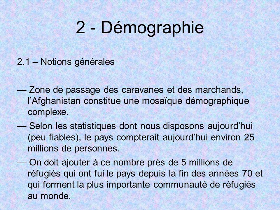 2 - Démographie 2.1 – Notions générales