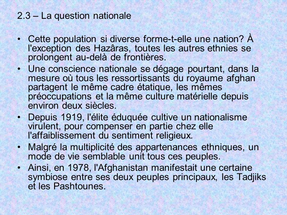 2.3 – La question nationale