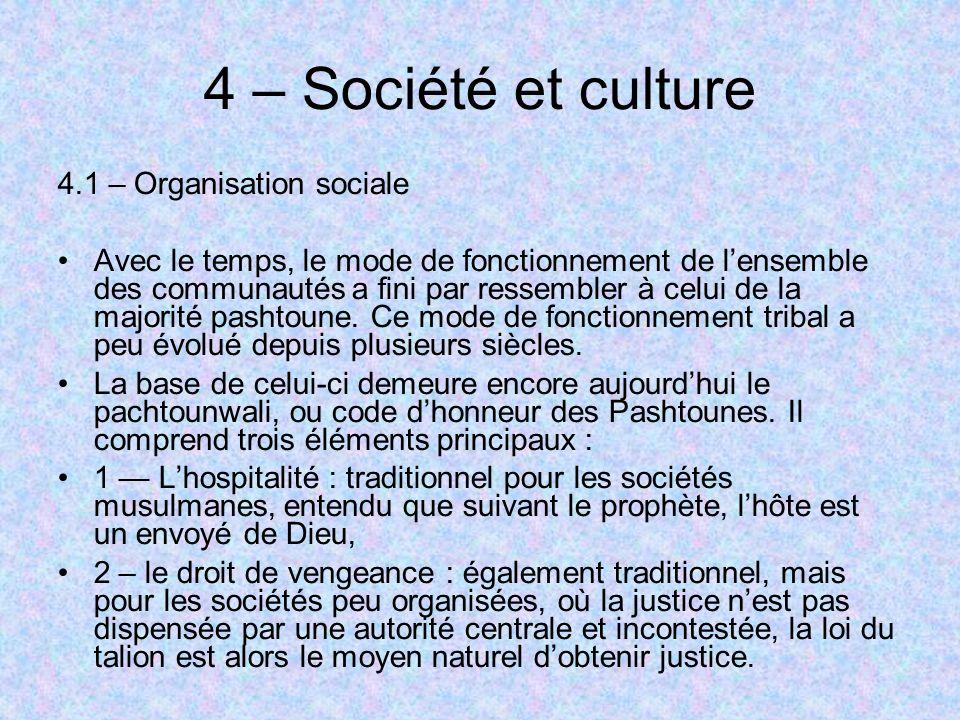 4 – Société et culture 4.1 – Organisation sociale