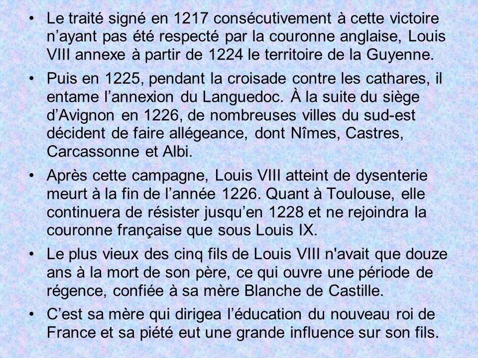 Le traité signé en 1217 consécutivement à cette victoire n'ayant pas été respecté par la couronne anglaise, Louis VIII annexe à partir de 1224 le territoire de la Guyenne.