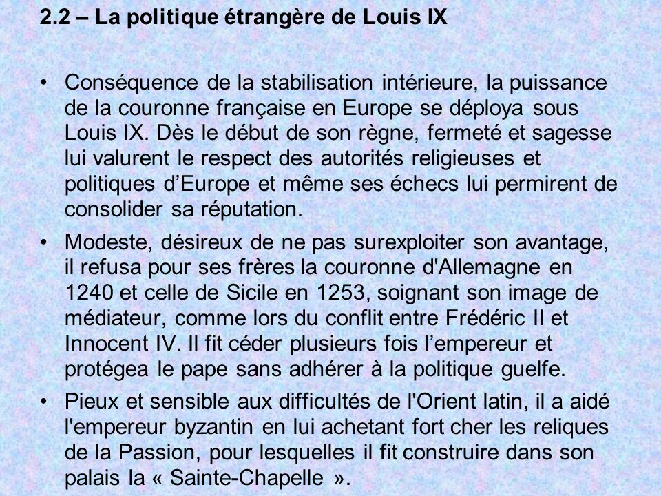 2.2 – La politique étrangère de Louis IX