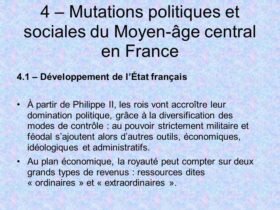 4 – Mutations politiques et sociales du Moyen-âge central en France
