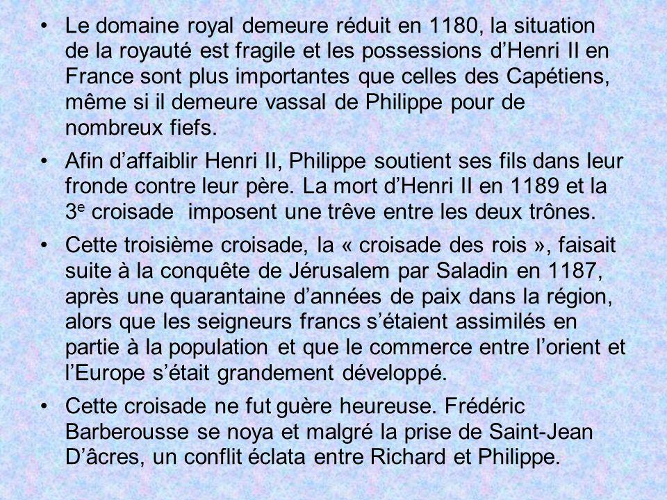 Le domaine royal demeure réduit en 1180, la situation de la royauté est fragile et les possessions d'Henri II en France sont plus importantes que celles des Capétiens, même si il demeure vassal de Philippe pour de nombreux fiefs.