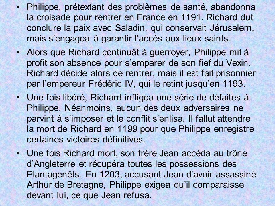 Philippe, prétextant des problèmes de santé, abandonna la croisade pour rentrer en France en 1191. Richard dut conclure la paix avec Saladin, qui conservait Jérusalem, mais s'engagea à garantir l'accès aux lieux saints.