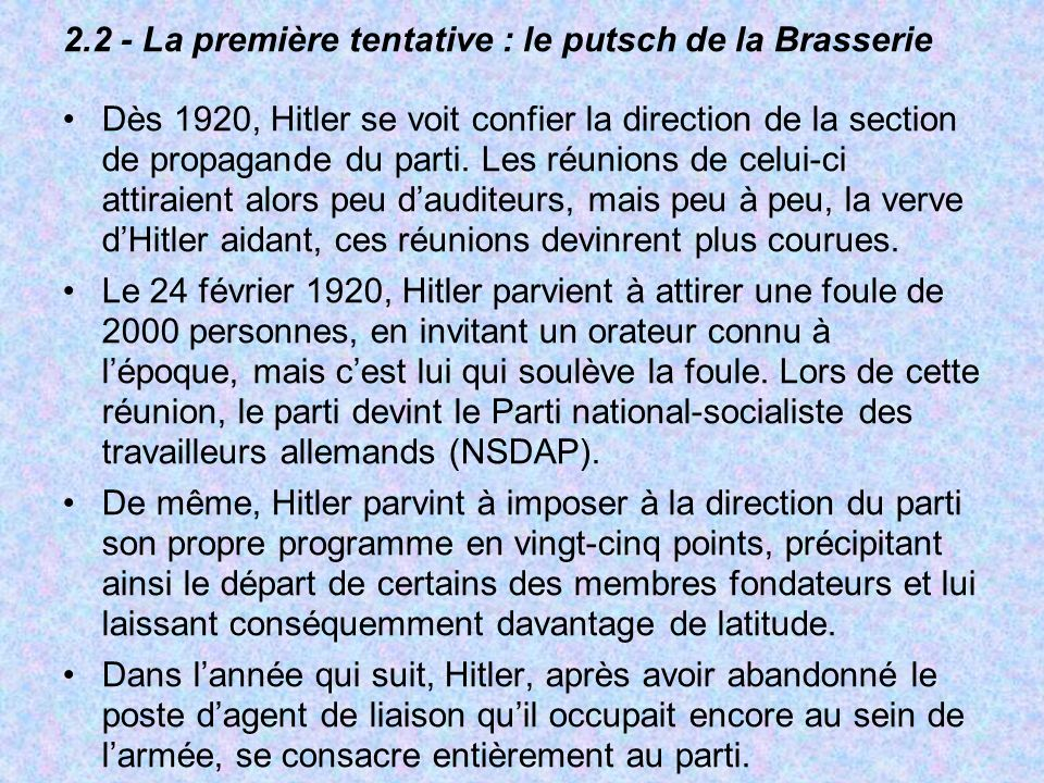 2.2 - La première tentative : le putsch de la Brasserie