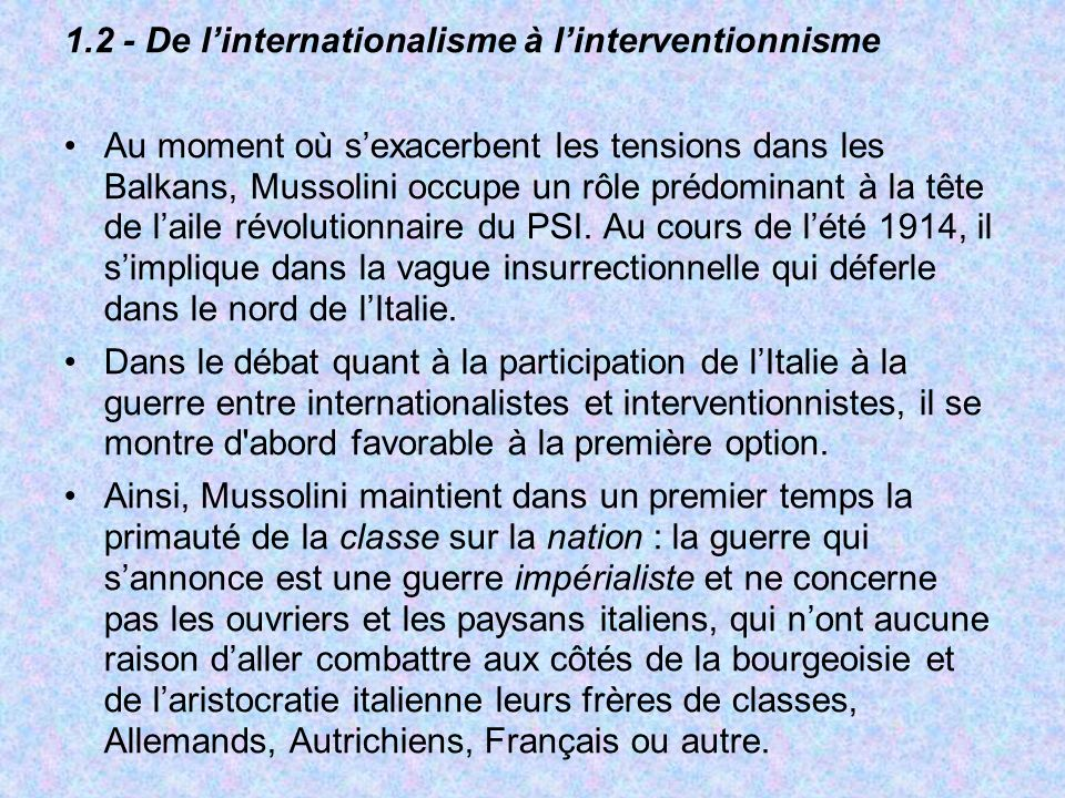 1.2 - De l'internationalisme à l'interventionnisme