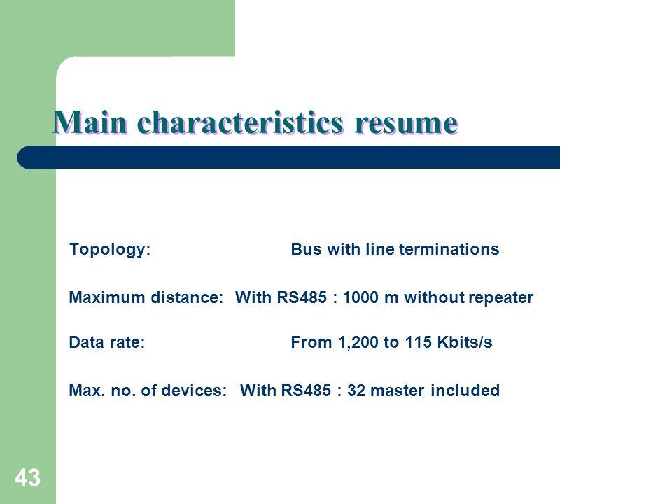 Main characteristics resume