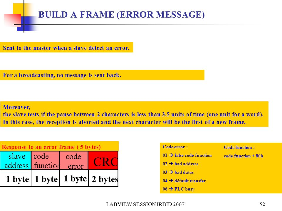 BUILD A FRAME (ERROR MESSAGE)