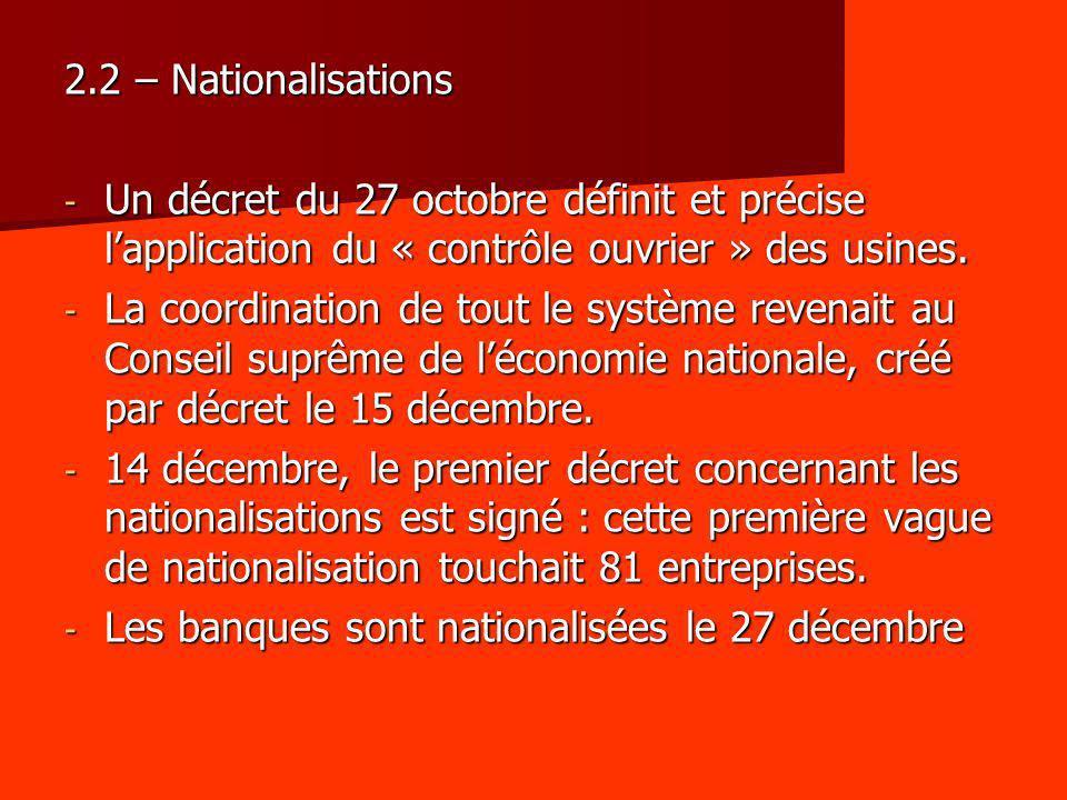 2.2 – Nationalisations Un décret du 27 octobre définit et précise l'application du « contrôle ouvrier » des usines.