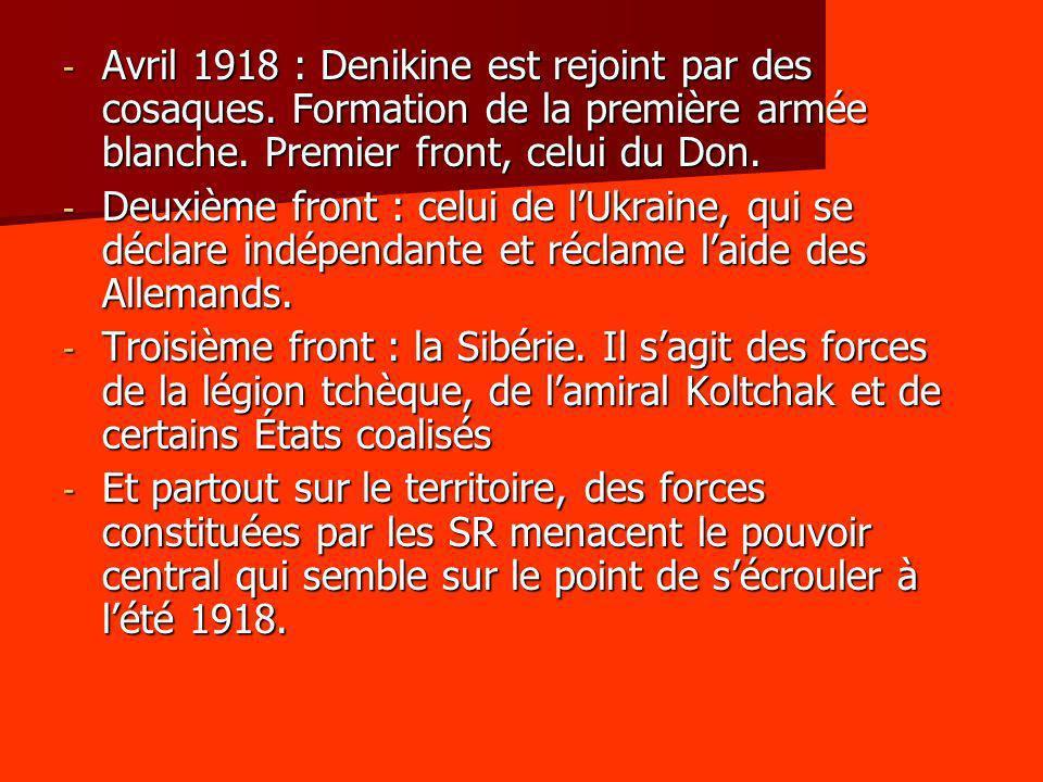 Avril 1918 : Denikine est rejoint par des cosaques