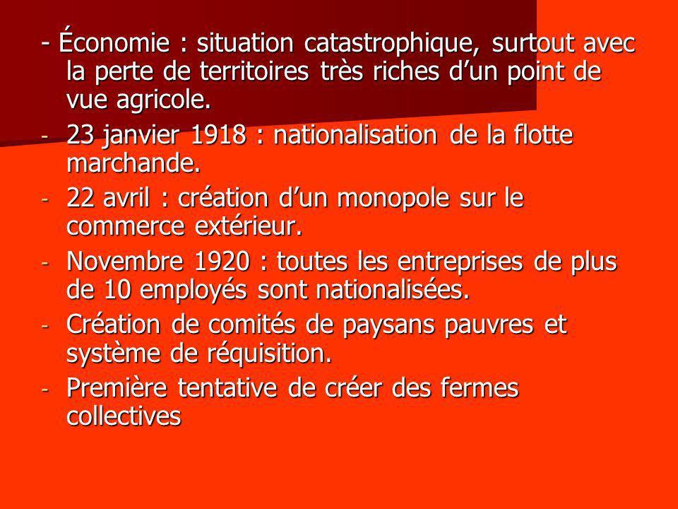 - Économie : situation catastrophique, surtout avec la perte de territoires très riches d'un point de vue agricole.