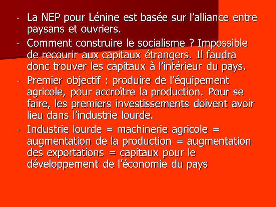 La NEP pour Lénine est basée sur l'alliance entre paysans et ouvriers.