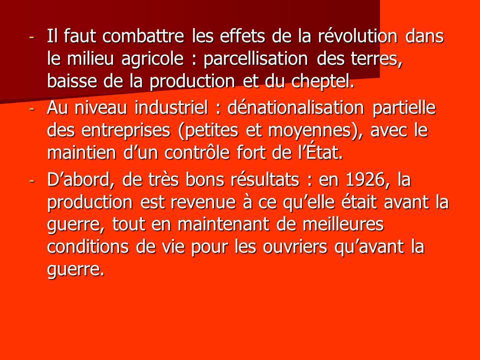 Il faut combattre les effets de la révolution dans le milieu agricole : parcellisation des terres, baisse de la production et du cheptel.