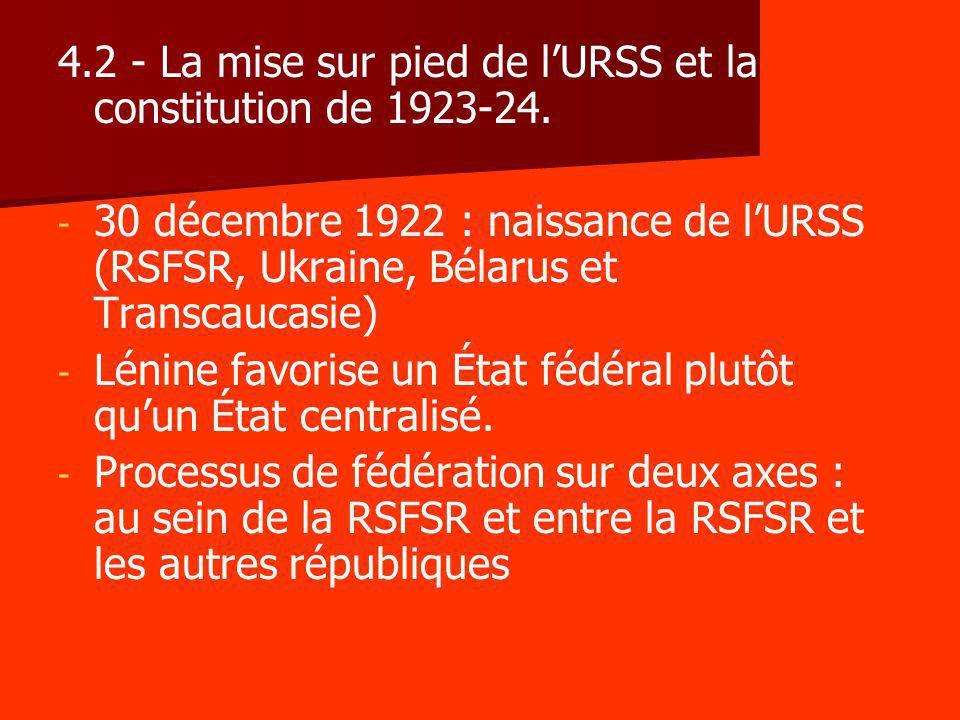 4.2 - La mise sur pied de l'URSS et la constitution de 1923-24.