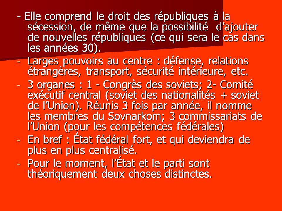 - Elle comprend le droit des républiques à la sécession, de même que la possibilité d'ajouter de nouvelles républiques (ce qui sera le cas dans les années 30).