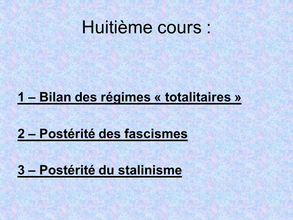 Huitième cours : 1 – Bilan des régimes « totalitaires » 2 – Postérité des fascismes 3 – Postérité du stalinisme
