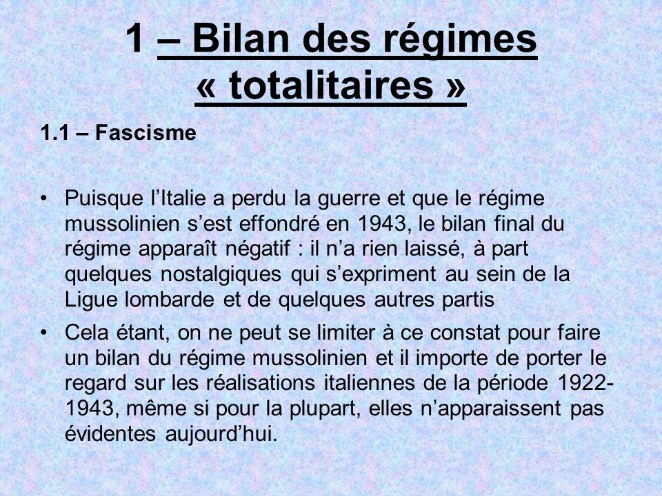 1 – Bilan des régimes « totalitaires »