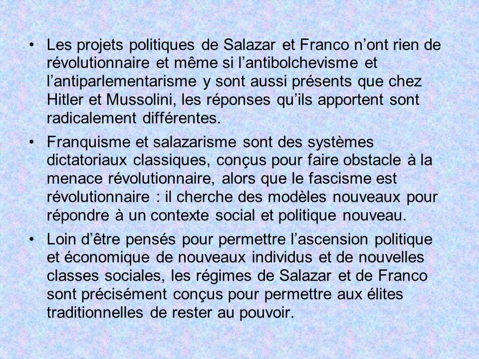 Les projets politiques de Salazar et Franco n'ont rien de révolutionnaire et même si l'antibolchevisme et l'antiparlementarisme y sont aussi présents que chez Hitler et Mussolini, les réponses qu'ils apportent sont radicalement différentes.