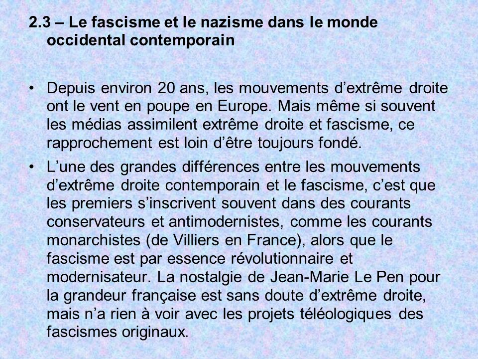 2.3 – Le fascisme et le nazisme dans le monde occidental contemporain