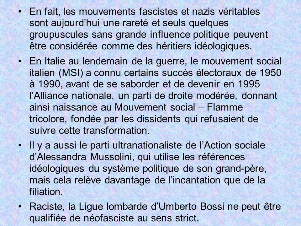 En fait, les mouvements fascistes et nazis véritables sont aujourd'hui une rareté et seuls quelques groupuscules sans grande influence politique peuvent être considérée comme des héritiers idéologiques.