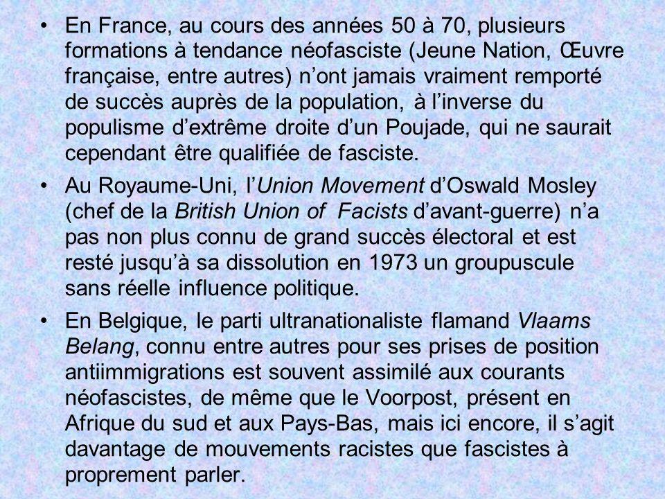 En France, au cours des années 50 à 70, plusieurs formations à tendance néofasciste (Jeune Nation, Œuvre française, entre autres) n'ont jamais vraiment remporté de succès auprès de la population, à l'inverse du populisme d'extrême droite d'un Poujade, qui ne saurait cependant être qualifiée de fasciste.