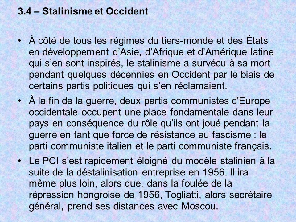 3.4 – Stalinisme et Occident