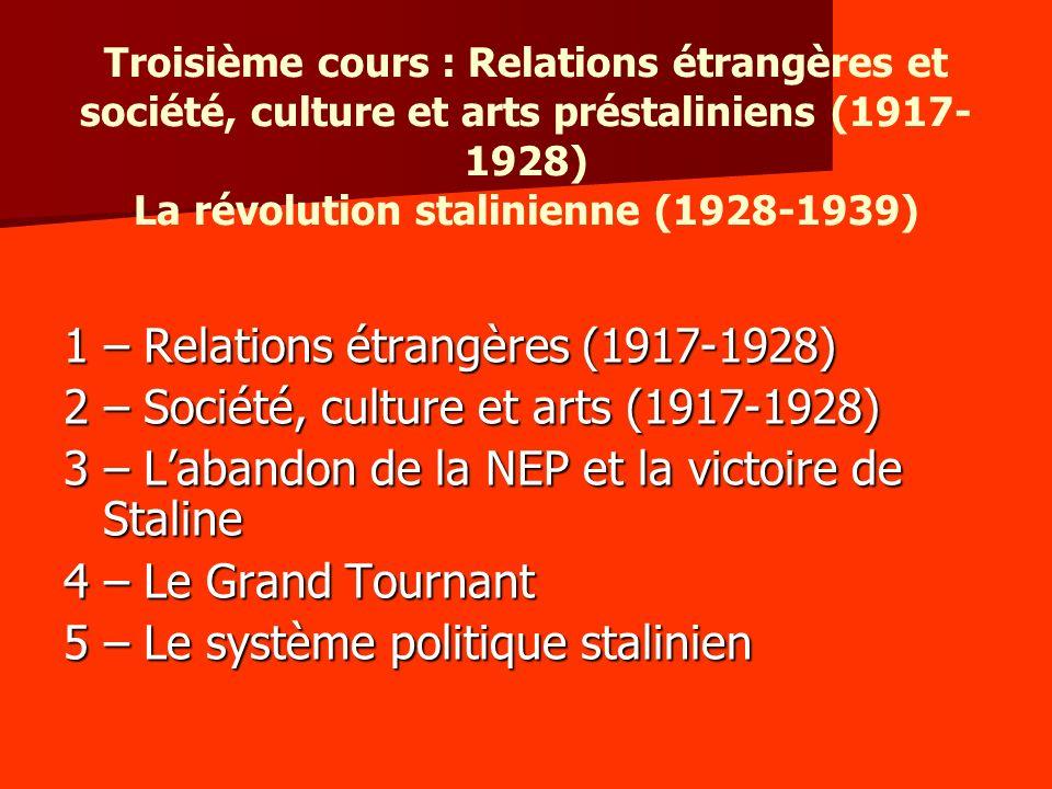 1 – Relations étrangères (1917-1928)