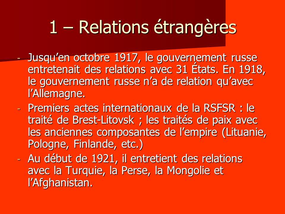 1 – Relations étrangères