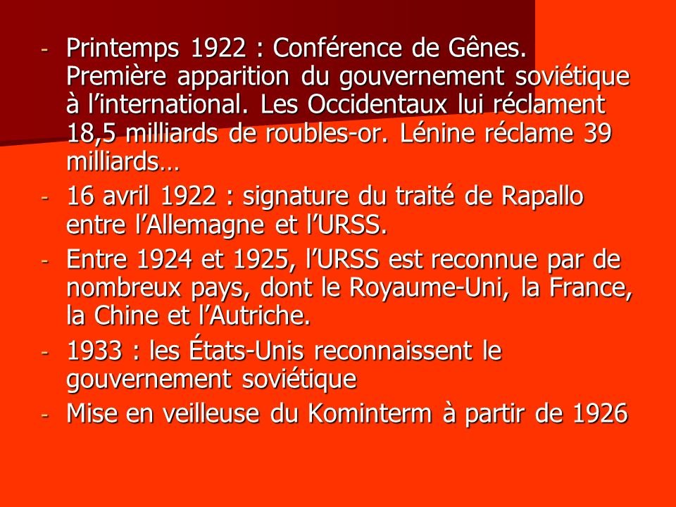 Printemps 1922 : Conférence de Gênes