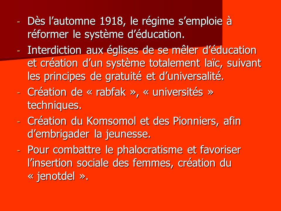 Dès l'automne 1918, le régime s'emploie à réformer le système d'éducation.