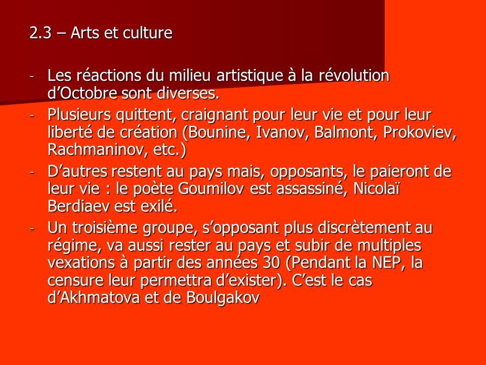 2.3 – Arts et culture Les réactions du milieu artistique à la révolution d'Octobre sont diverses.