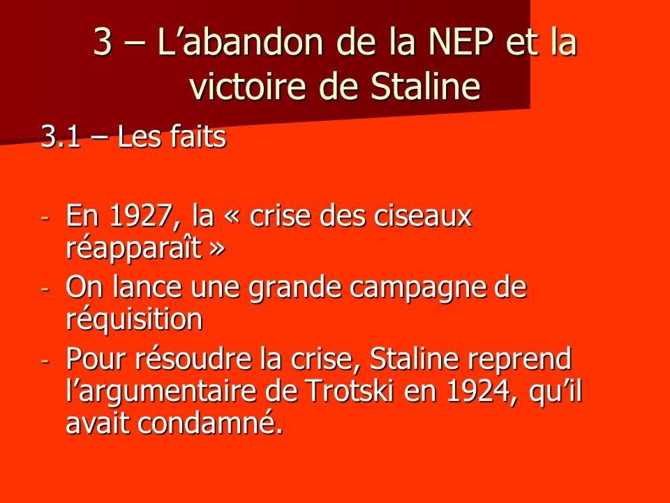 3 – L'abandon de la NEP et la victoire de Staline