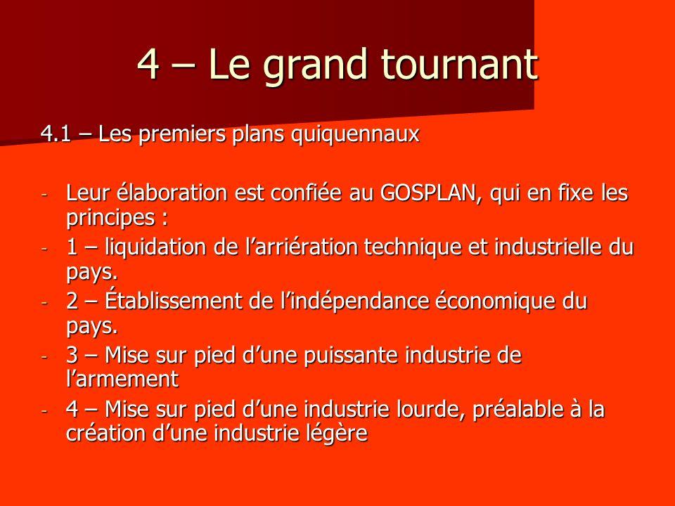 4 – Le grand tournant 4.1 – Les premiers plans quiquennaux