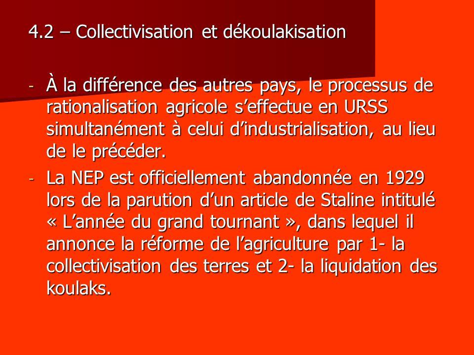 4.2 – Collectivisation et dékoulakisation