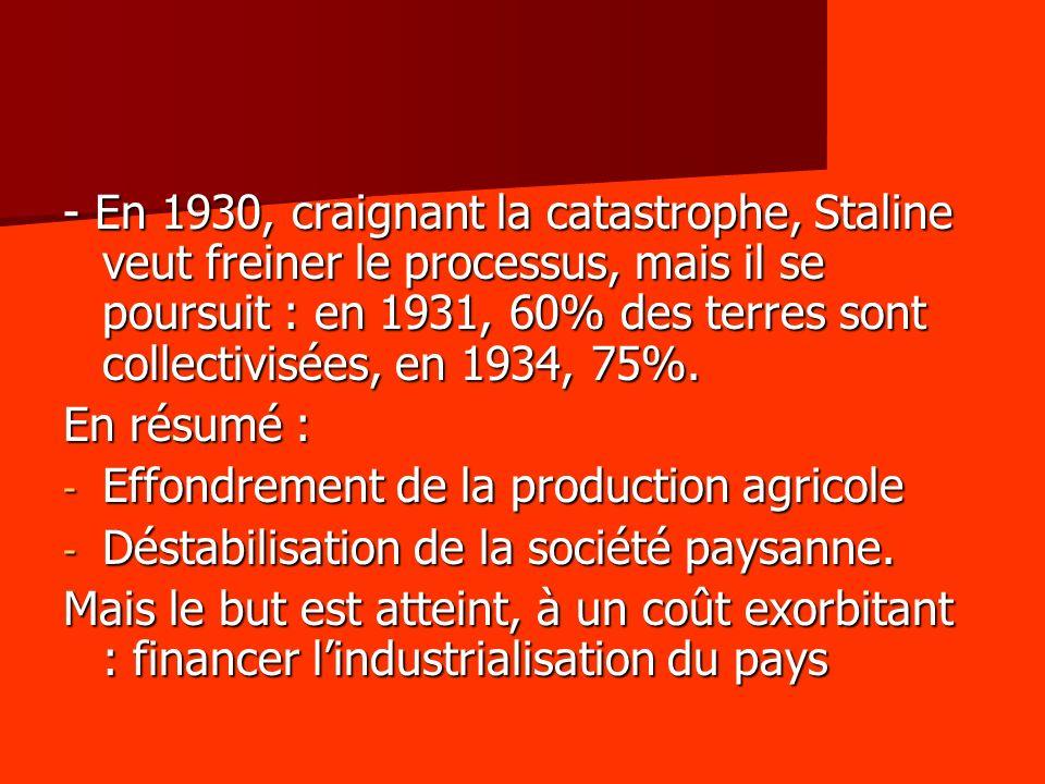 - En 1930, craignant la catastrophe, Staline veut freiner le processus, mais il se poursuit : en 1931, 60% des terres sont collectivisées, en 1934, 75%.
