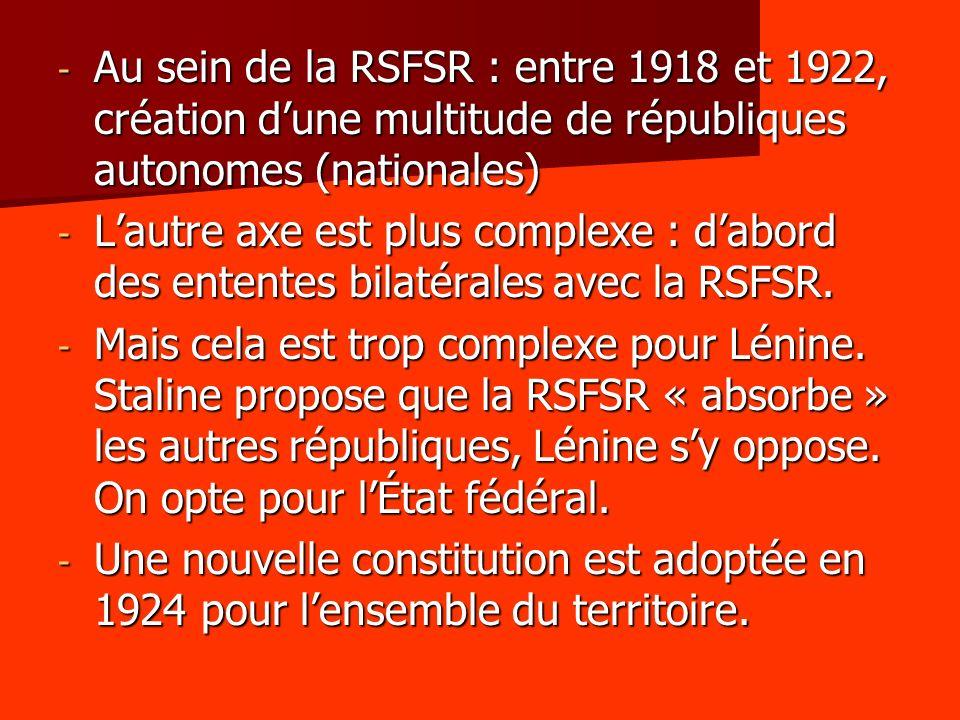 Au sein de la RSFSR : entre 1918 et 1922, création d'une multitude de républiques autonomes (nationales)