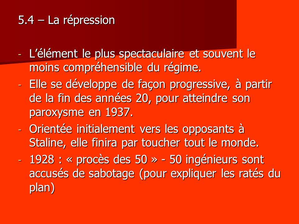 5.4 – La répression L'élément le plus spectaculaire et souvent le moins compréhensible du régime.